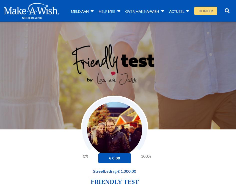 Friendly Test make a wish actie